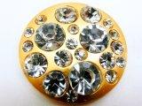 30mm マットゴールド ラインストーン ボタン